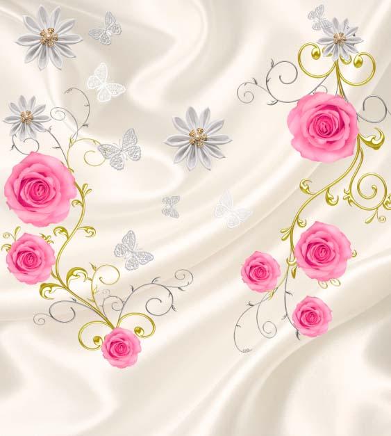 Розы на шелке