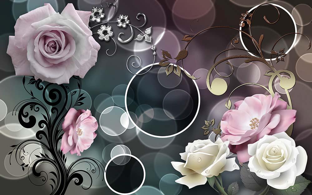 Нежные розы на 3Д фоне