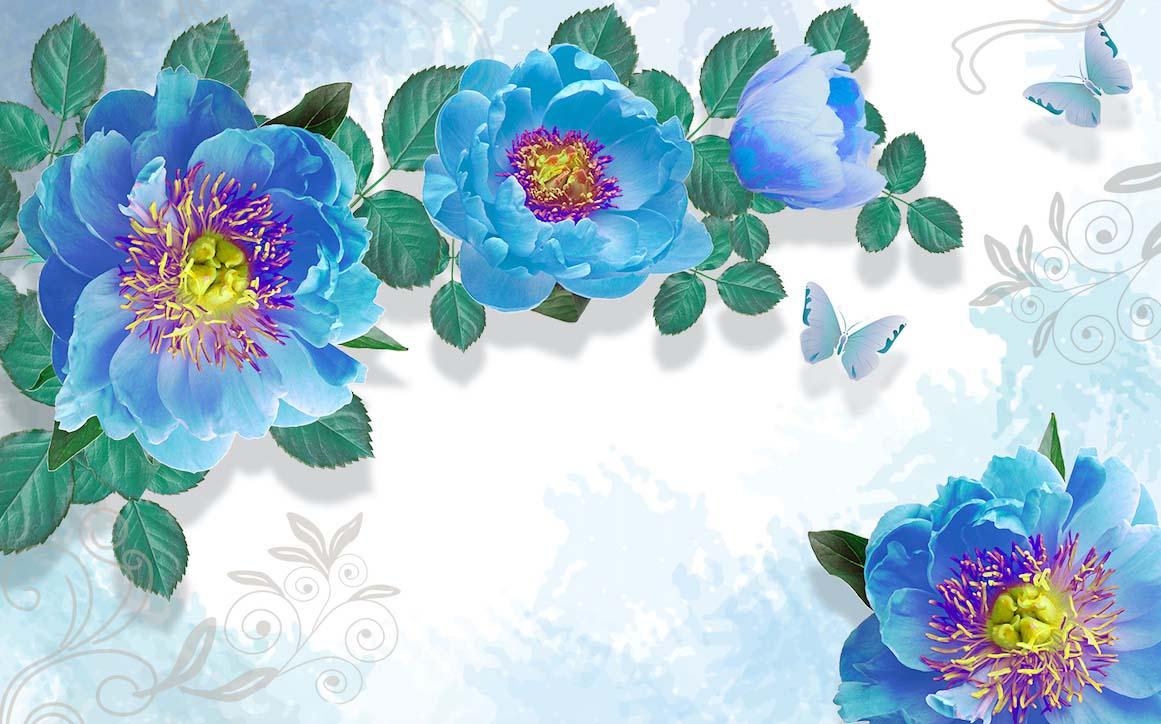 Голубые пионы