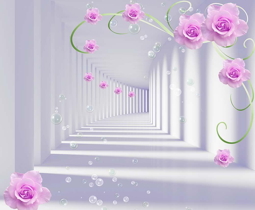 3D тоннель и цветы