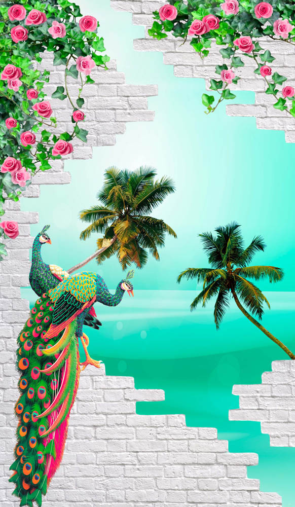 Павлин и пальмы