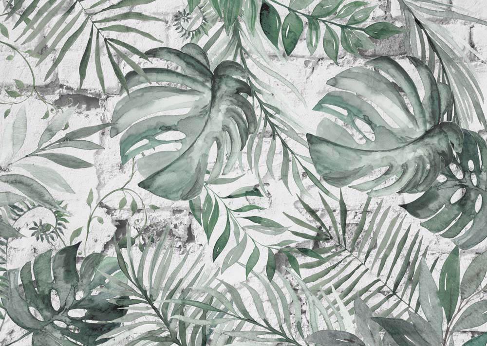 Тропические листья на бетоне