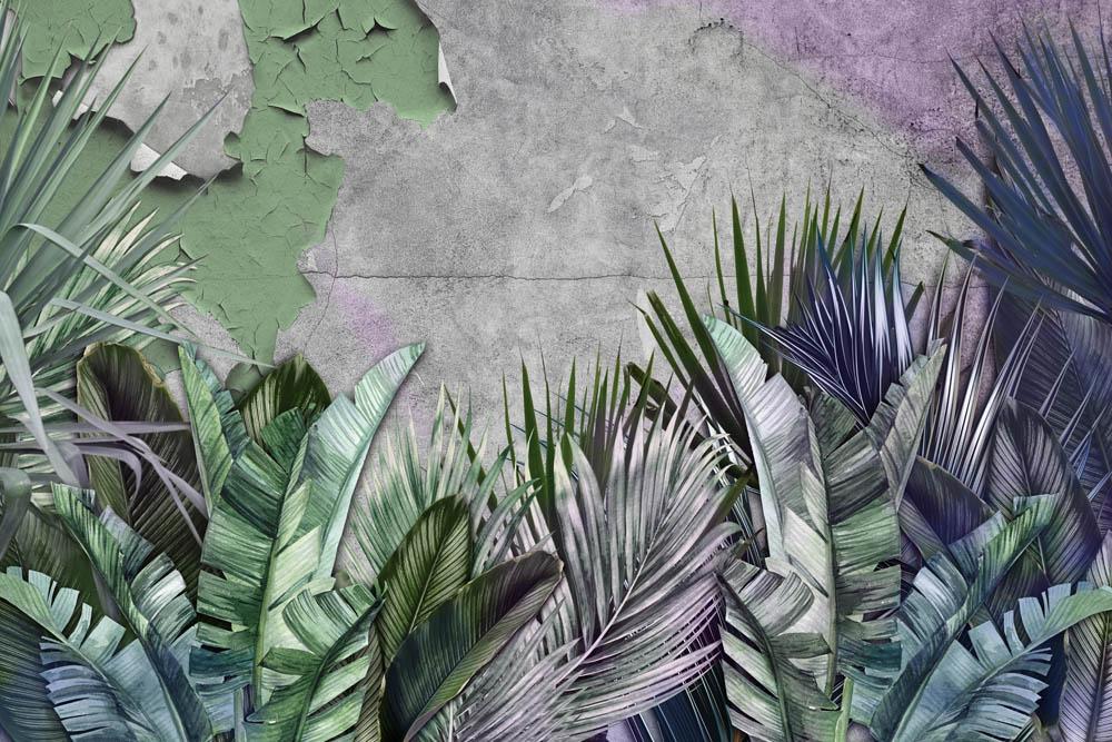 Листья на винтажной стене
