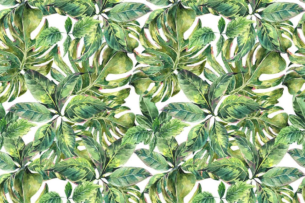 Стена из тропических листьев