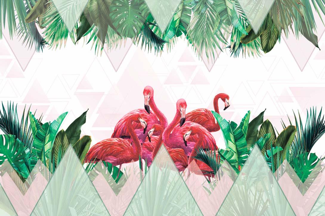 Фламинго в тропических листьях