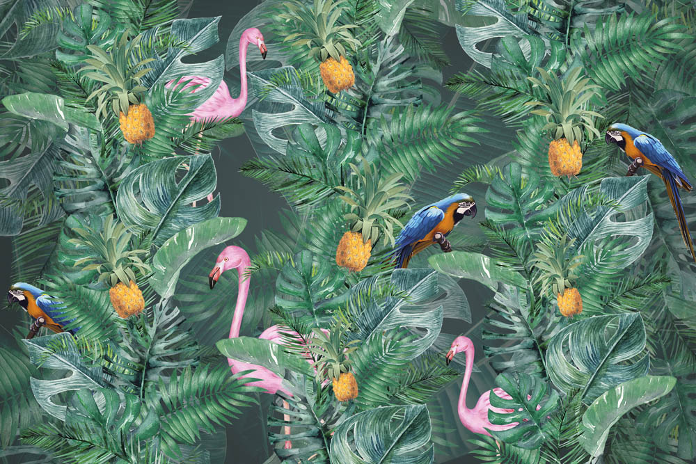 Фламинго в тропическом саду