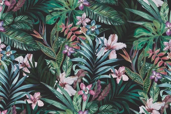 Тропические цветы и листья