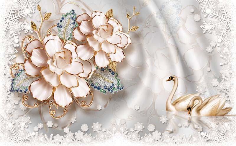 Цветы и лебеди
