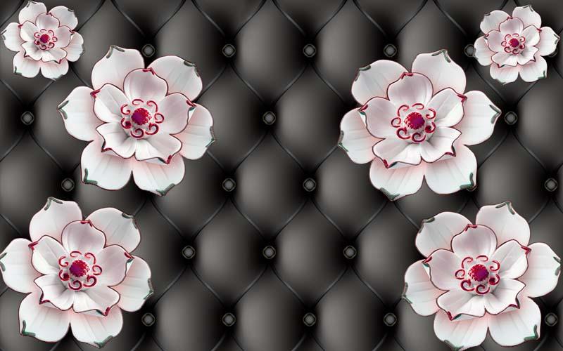 3D цветы на стене