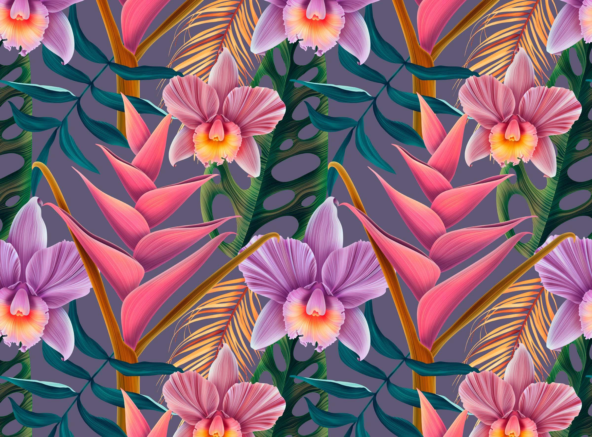 Экзотические орхидеи с листьями