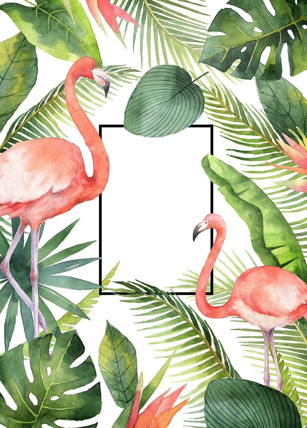 Фламинго в пальмовых листьях