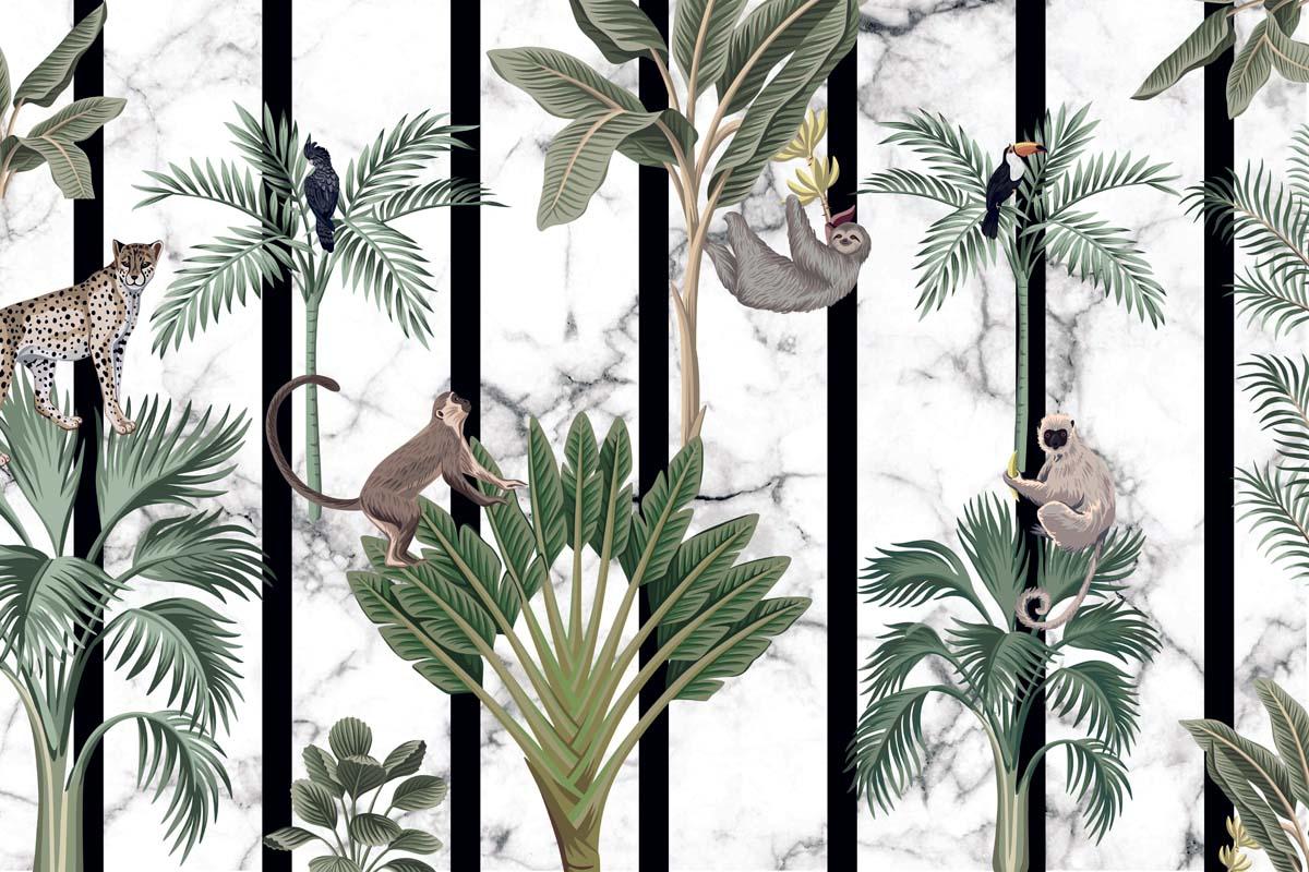 Композиция с пальмами и приматами