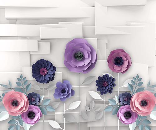 Бумажные цветы на фоне