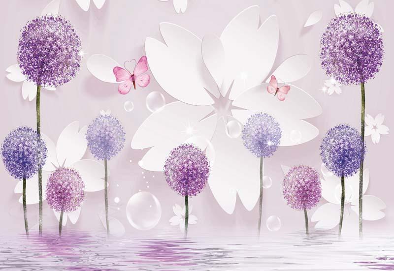 Сиреневые 3д цветы