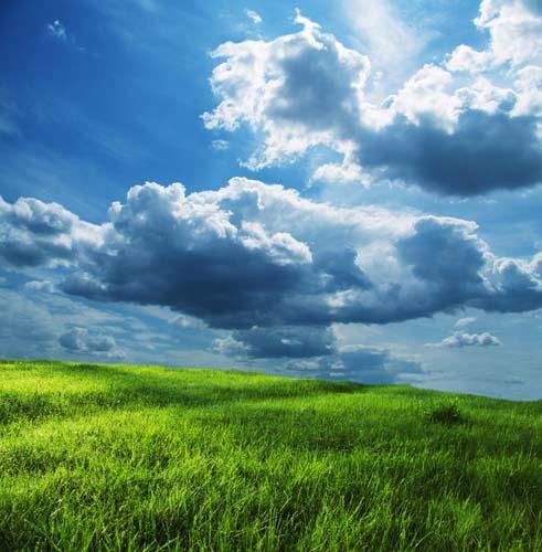 Зеленая лужайка и облака