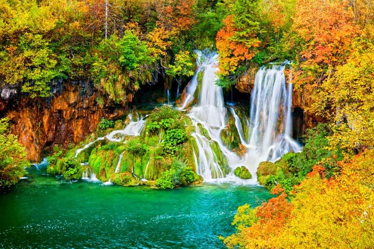 Водопад в цветных листьях