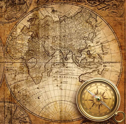 Карта мира с компасом