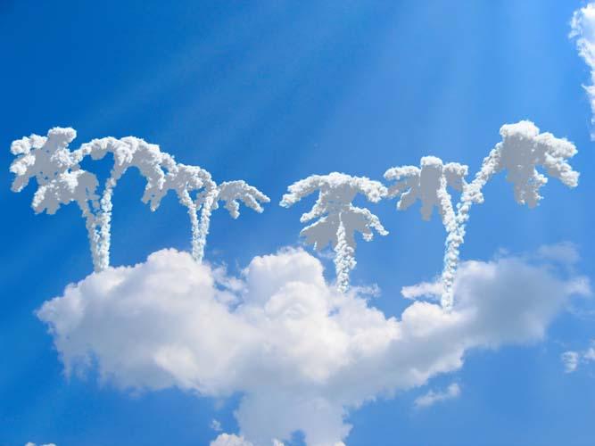 Облака в виде пальм