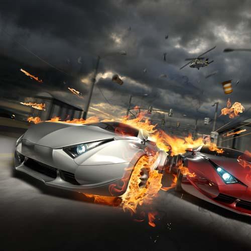 Машины в огне