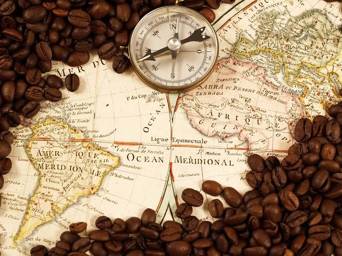Карта мира и кофе