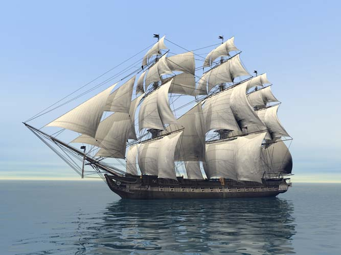 Корабль с парусами