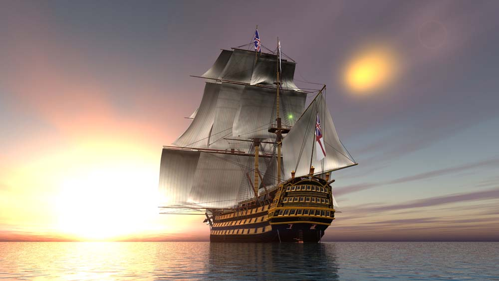 Корабль с флагом
