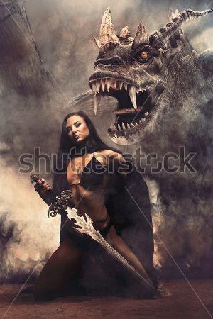 Девушка с мечом и дракон
