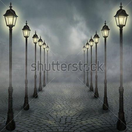 Аллея с фонарями