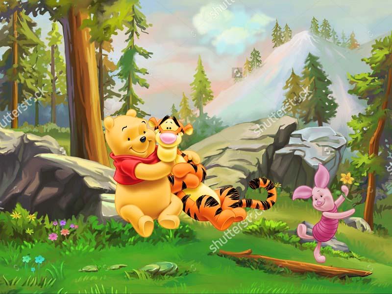 Пух и тигренок в лесу