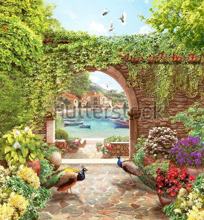 Павлины в саду