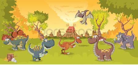 Динозавры на полянке