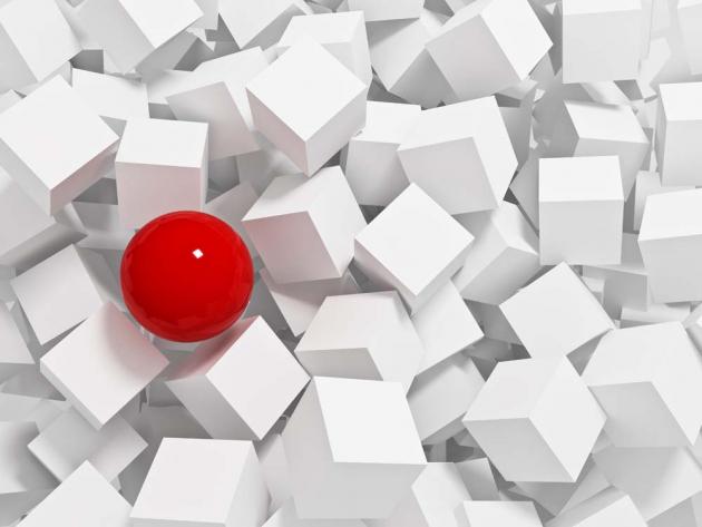 Красный шар и белые кубы