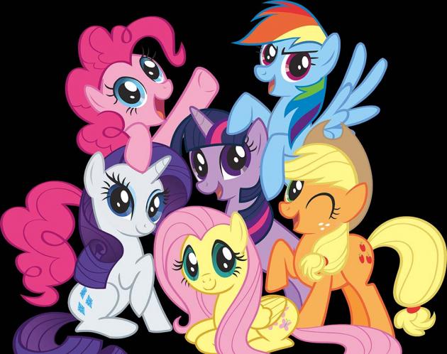 Разноцветные пони вместе