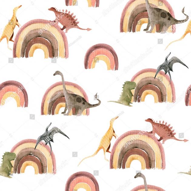 Паттерн с динозаврами и радугой