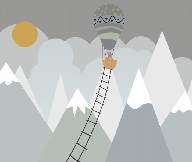 Воздушный шар в горах