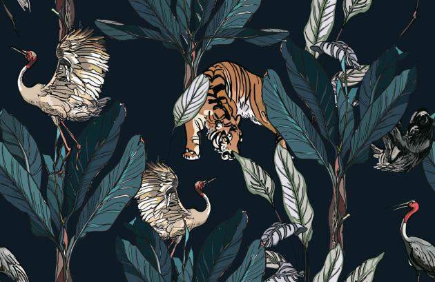 Тигры и журавли в пальмовых листьях