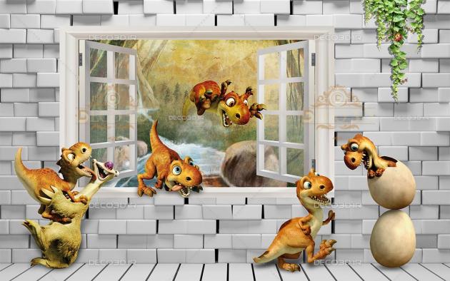 Динозавры в кирпичной стене