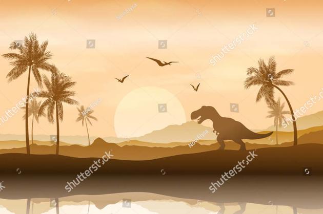 Динозавр на закате