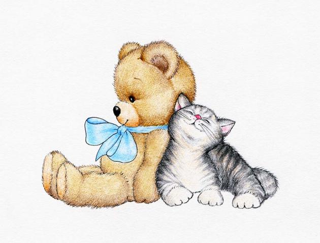 Медвежонок и котенок