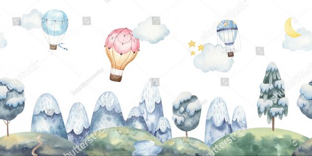 Воздушные шары над лесом