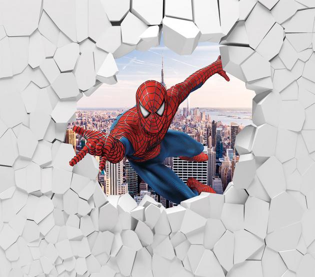 Человек паук пробивает стену