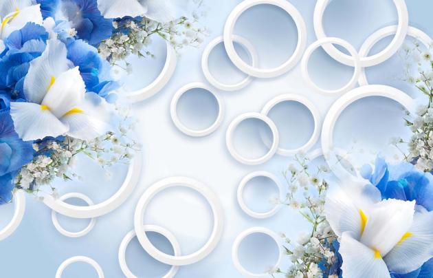 Голубые цветы с кругами