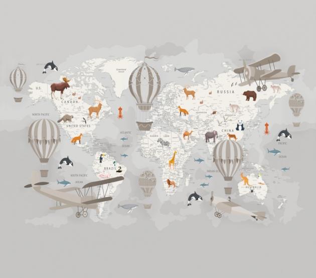 Пастельная карта мира