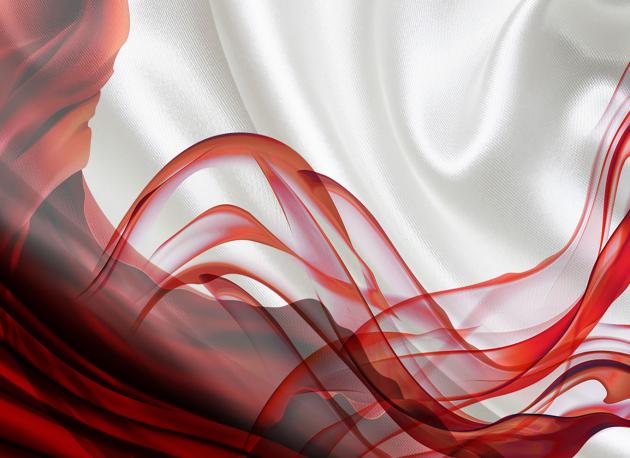 Красная абстракция на шелке