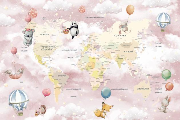 Розовая карта мира