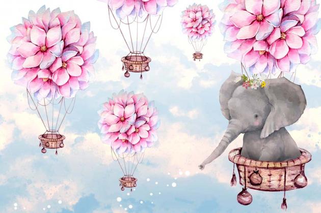 Слоник на воздушном шаре