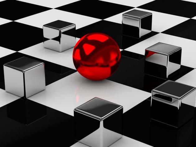 Красный шар и кубы