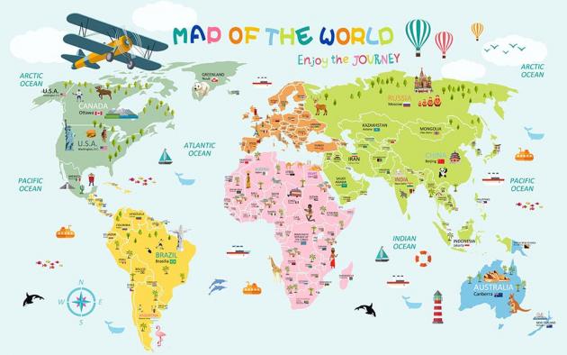 Яркая карта мира