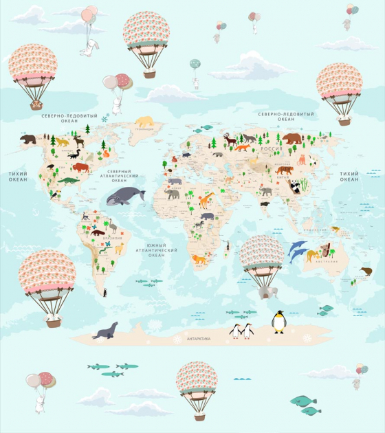 Карта мира с шарами