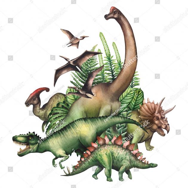 Акварельные динозавры